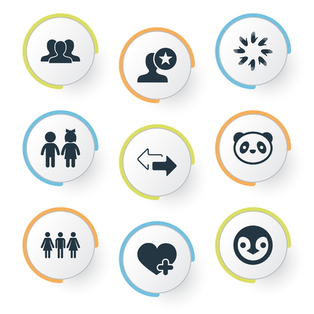 Vector Illustration Set Of Simple  Icons. Elements Toy, Add, Arrows And Other Synonyms Heart, Union And Crowd.