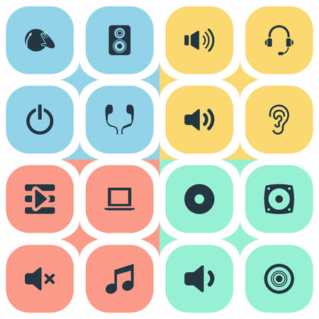 Vector Illustration Set Of Simple Sound Icons. Elements Support  Service, Silence, Volume And Other Synonyms Voice, Melody And Speaker. Illustration