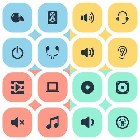 Vector Illustratie Set Van Eenvoudige Geluid Pictogrammen. Elements Support Service, Silence, Volume En Andere Synoniemen Voice, Melody And Speaker.
