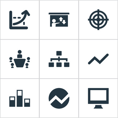 organisational: Vector Illustration Set Of Simple  Icons. Elements Monitor, Goal, Presentation And Other Synonyms Screen, Monitor And Analytics.