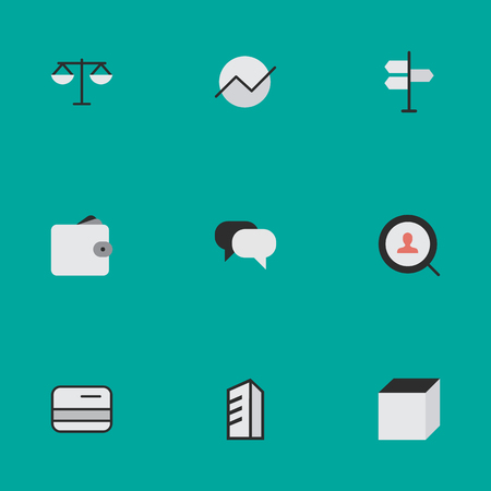 Vector Illustration Set Of Simple Job Icons. Elements Pay, Purse, Justice And Other Synonyms Cube, Scales And Purse.