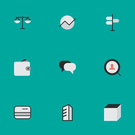Vector ilustración conjunto de iconos de trabajo simple. Elementos de pago, monedero, justicia y otros sinónimos Cubo, escalas y monedero. Foto de archivo - 83461997