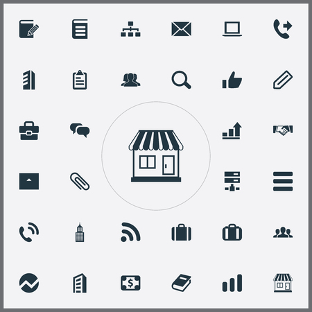 Vector Illustration Set Of Simple Company Icons. Elements Briefcase, Team, Store And Other Synonyms Economy, Hotel And Scrutiny.