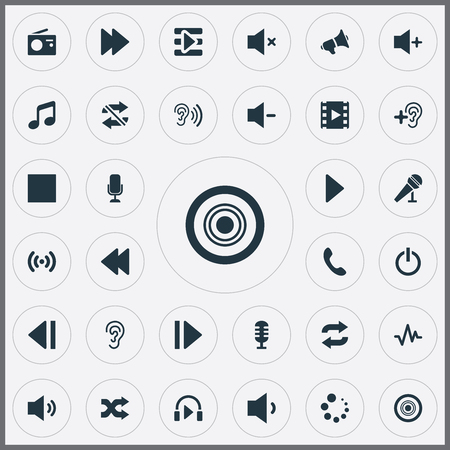 Vector Illustration Set Of Simple Audio Icons. Elements Refresh, Wave, Upload And Other Synonyms Antenna, Melody And Repeat.