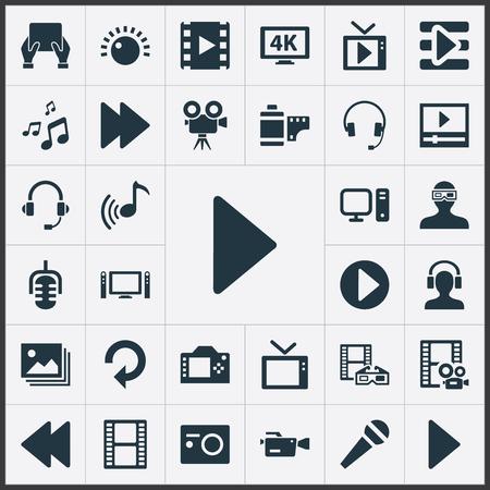 単純なメディア アイコンのベクター イラスト セット。要素のフィルム ストリップ、Crotchets、マイク他類義語ホーム、明るさとヘッドフォン。