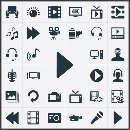 Vector Illustration Set Of Simple Media Icons. Elements Filmstrip, Crotchets, Mike And Other Synonyms Home, Brightness And Headphones. Ilustração