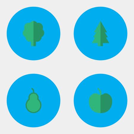 벡터 일러스트 레이 션 간단한 정원 아이콘의 집합입니다. 요소 과일, 나무, 펀치 백 및 다른 동의어 애플, 숲 및 나무. 일러스트