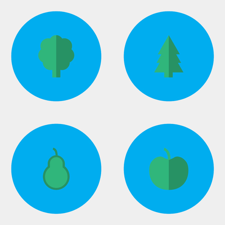 Vector Illustration Set Of Simple Garden Icons. Elements Fruit, Wood, Punching Bag And Other Synonyms Apple, Forest And Wood. 向量圖像