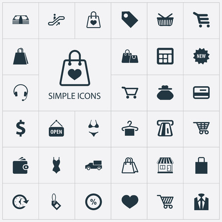Vector Illustration Set Of Simple Money Icons. Elements Swimsuit, Paper Bag, Calculate And Other Synonyms Digital, Electronics And Money. Illustration