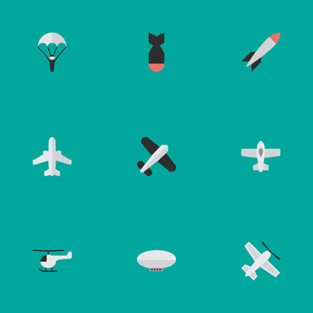 Vector Illustration Set Of Simple Airplane Icons. Elements Copter, Craft, Catapults And Other Synonyms Vehicle, Balloons And Plane.