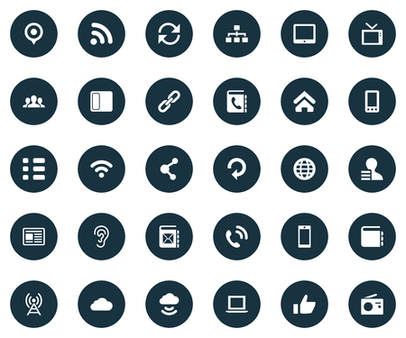 Vector Illustration Set Of Simple Transmission Icons. Elements Press, Walkie, Notebook And Other Synonyms Press, Radio And Networking. 向量圖像