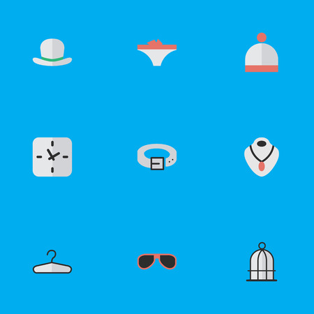 Vector Illustration Set Of Simple Equipment Icons. Elements Clothes Hook, Strap, Time And Other Synonyms Hat, Strap And Fedora. Ilustração