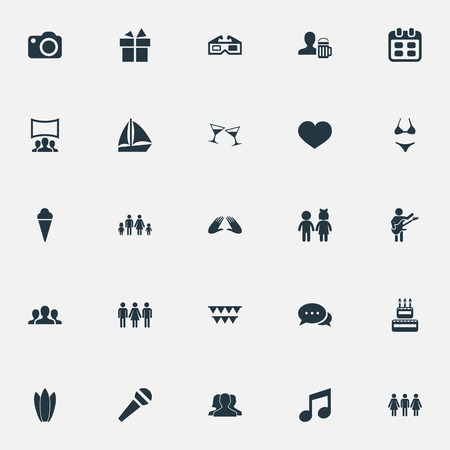 Vector Illustration Set Of Simple Party Icons. Elements Lineage, Cocktail, Tone And Other Synonyms Candles, Acquaintances And Champagne. Banco de Imagens - 83462019