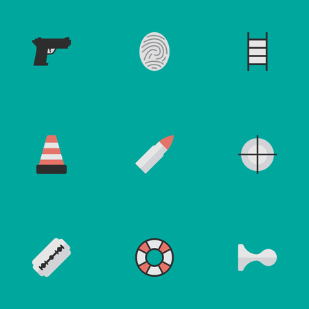 Vector Illustration Set Of Simple Offense Icons. Elements Stairs, Isolated, Bioskyner And Other Synonyms Cone, Stairs And Bioskyner. Illustration