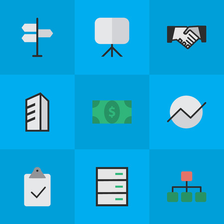 Vector Illustration Set Of Simple Trade Icons. Elements Done, Easel, Drawer And Other Synonyms Diagram, Signpost And Greenback. Banco de Imagens - 83462021