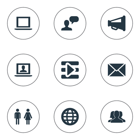 Vector Illustration Set Of Simple Internet Icons. Elements Group, Notebook, World And Other Synonyms Profile, Group And Computer.