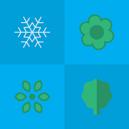 Vector Illustration Set Of Simple Gardening Icons. Elements Flower, Wood, Flake Of Snow And Other Synonyms Forest, Flake And Blossom.