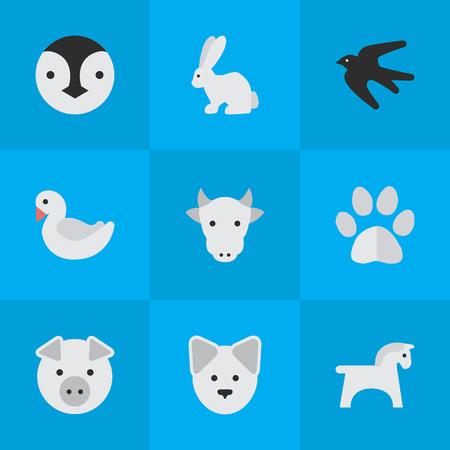 単純な動物アイコンのベクター イラスト セット。要素足、雌牛、オオカミおよび他の類義語バニー豚と貯金箱。