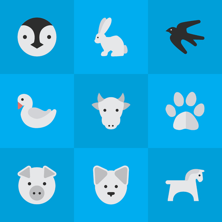 Vector Illustration Set Of Simple Animals Icons. Elements Foot, Kine, Wolf And Other Synonyms Bunny, Pig And Piggy.