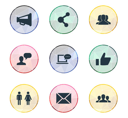 Vector Illustration Set Of Simple Social Icons. Elements Megaphone, Genus, Letter And Other Synonyms Vote, Letter And People.