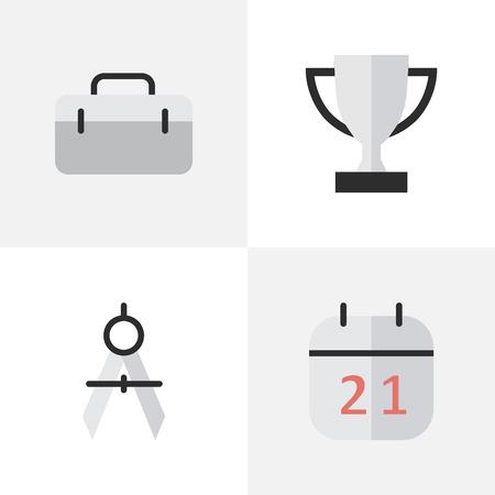 벡터 일러스트 레이 션 간단한 교육 아이콘의 집합입니다. 요소 잔, 서류 가방, 날짜 블록 및 다른 동의어 잔, 챔피언십 및 날짜.