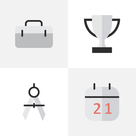 Vector Illustration Set Of Simple Education Icons. Elements Goblet, Briefcase, Date Block And Other Synonyms Goblet, Championship And Date.