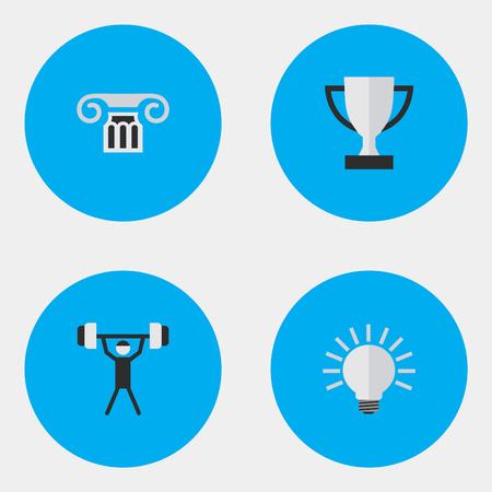 簡単な教育アイコンのベクター イラスト セット。要素の列、ゴブレット、電球、他類義語ゴブレット柱と電球。