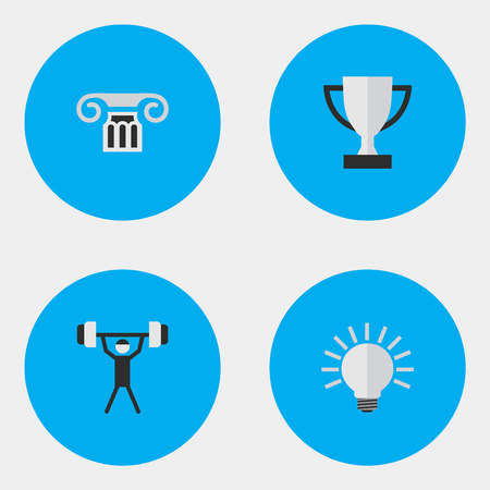 Vector Illustration Set Of Simple Education Icons. Elements Column, Goblet, Bulb And Other Synonyms Goblet, Pillar And Bulb.