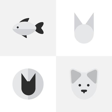 Illustration vectorielle définie des icônes sauvages simples. Éléments tomcat, perche, loup et autres synonymes fruits de mer, chien et mignon. Banque d'images - 83462030