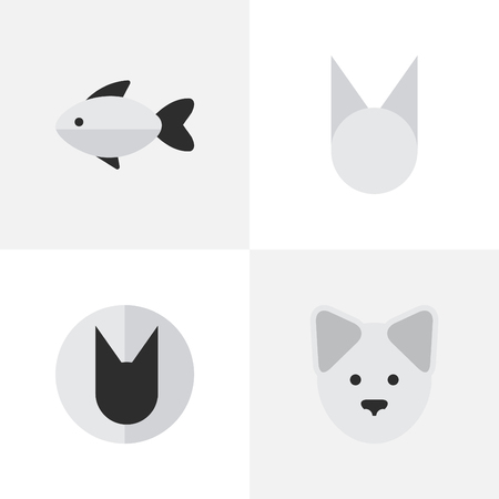 Vector Illustration Set Of Simple Wild Icons. Elements Tomcat, Perch, Wolf And Other Synonyms Seafood, Dog And Cute.