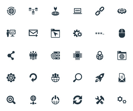 Vector Illustration Set Of Simple SEO Icons. Elements Group, Missile, World Wide Web And Other Synonyms Envelope, Missile And Unit. 向量圖像
