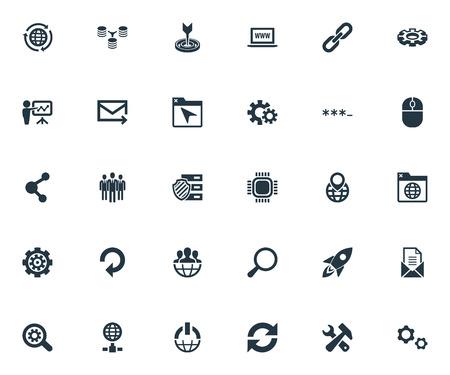 Vektor-Illustrations-Satz einfache SEO Icons. Elements Group, Rakete, World Wide Web und andere Synonyme Umschlag, Rakete und Einheit Standard-Bild - 83462033