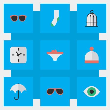 벡터 일러스트 레이 션 간단한 장비 아이콘의 집합입니다. 요소 파라솔, 란제리, 새장 및 기타 동의어 비전, 전망 및 시계.