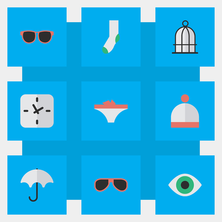 Vector Illustration Set Of Simple Equipment Icons. Elements Parasol, Lingerie, Birdcage And Other Synonyms Vision, View And Clock. Ilustração