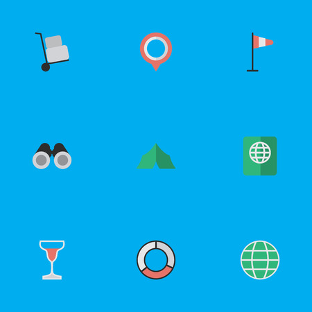 Vector Illustration Set Of Simple Vacation Icons. Elements Optical Zoom, Certificate, Wine And Other Synonyms Lifebelt, Binoculars And Wind. Illustration