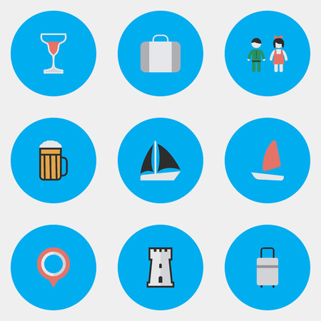 Vector Illustration Set Of Simple Relax Icons. Elements Mark, Tower, Baggage And Other Synonyms Suitcase, Tower And Bag.