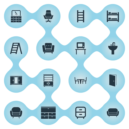 Vector Illustration Set Of Simple Furniture Icons. Elements Chest Drawers, Stairway, Wardrobe And Other Synonyms Work, Screen And Bedroom. Ilustração