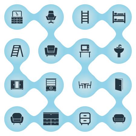Vectorillustratiereeks Eenvoudige Meubilairpictogrammen. Elementen ladenkast, trap, garderobe en ander synoniemenwerk, scherm en slaapkamer. Stock Illustratie