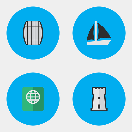 Vector Illustration Set Of Simple Travel Icons. Elements Certificate, Cask, Tower And Other Synonyms Defence, Tower And Container. Illustration