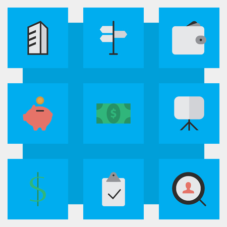 Vector Illustration Set Of Simple Business Icons. Elements Apartment, Magnifier, Direction And Other Synonyms Check, Signpost And Money.