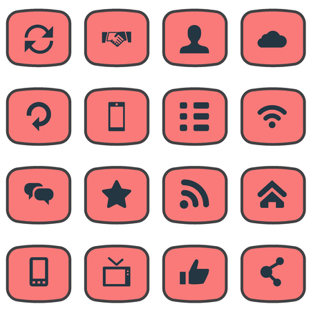 Vector Illustration Set Of Simple Network Icons. Elements Connection, Handshake, Conversation Synonyms Contact, Handshake And Questionnaire. Иллюстрация