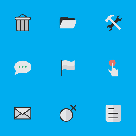 turning the page: Vector Illustration Set Of Simple Interface Icons. Elements Document, Switch Knob, Flag And Other Synonyms Junk, File And Tools. Illustration