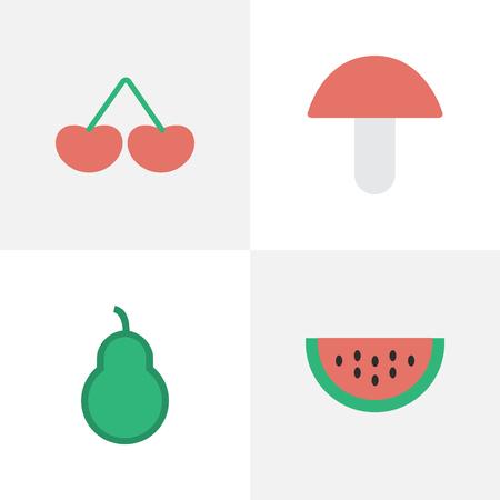 簡単な園芸アイコンのベクター イラスト セット。要素果実、菌、メロンおよび他の類義語メロン梨とベリー。