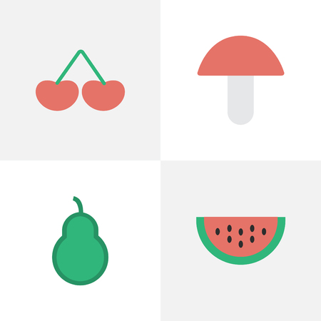 Vector Illustration Set Of Simple Horticulture Icons. Elements Berry, Fungus, Melon And Other Synonyms Melon, Pear And Berry.