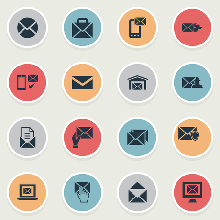 Vector Illustration Set Of Simple Mailing Icons. Elements News, Pages, Portfolio And Other Synonyms Computer, Laptop And Protected.