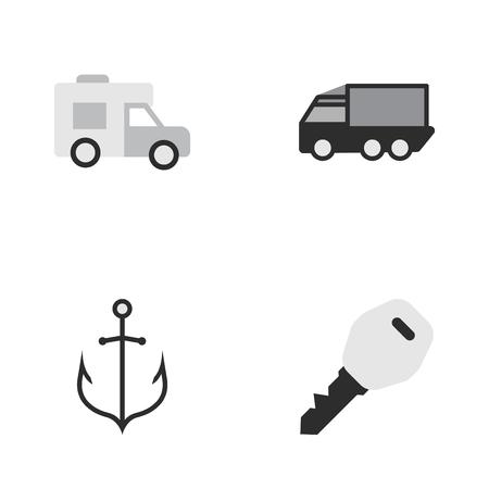 シンプルな交通アイコンのベクター イラスト セット。要素のバン、アーマチュア、オープン、類義語は他のワゴン、ロックし、ヴァン。