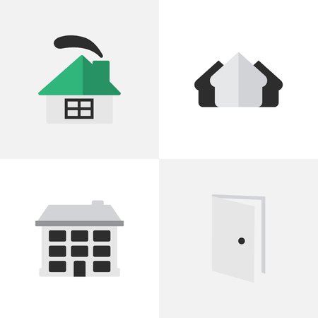 Vector Illustration Set Of Simple Estate Icons. Elements Dwelling, Entry, Structure And Other Synonyms Open, Entry And Estate.