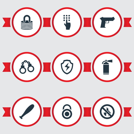 Vector Illustration Set Of Simple Secure Icons. Elements Pistol, Conservation, Password And Other Synonyms Stick, Cipher And Safe.