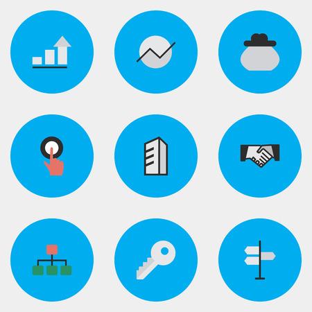 벡터 일러스트 레이 션 간단한 비즈니스 아이콘의 집합입니다. 요소 핑거 터치, 계약, 다이어그램 및 기타 동의어 건 드리면, 구조 및 아키텍처.