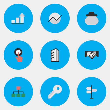 Vector Illustration Set Of Simple Business Icons. Elements Finger Touching, Agreement, Diagram And Other Synonyms Touching, Structure And Architecture. Stock fotó - 83462079